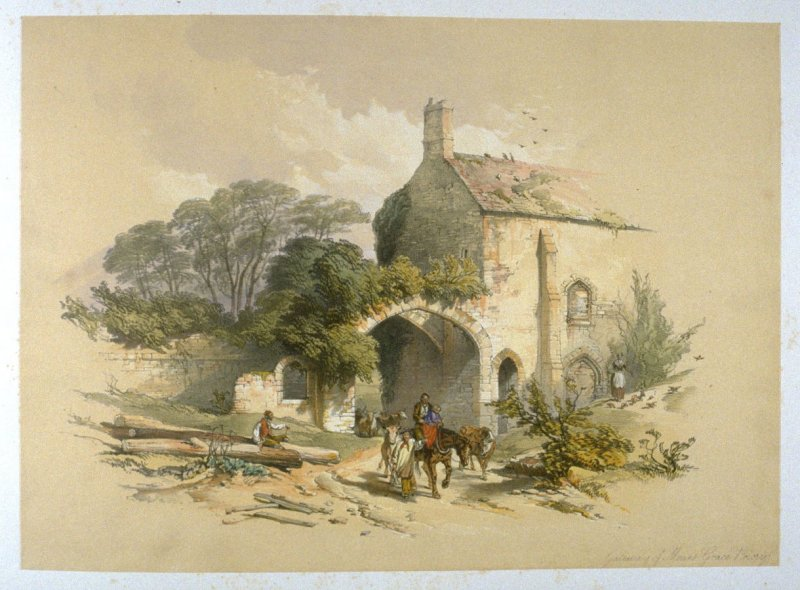 Mt. Grace Priory: Gateway, on page [51], and thirty-fourth plate in the book, The Monastic Ruins of Yorkshire by Edward Churton (York: Robert Sunter,[ ca. 1855])
