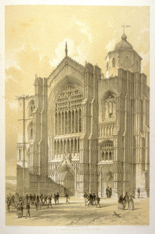 Bridlington Priory : West Front, first plate opposite page 62, and forty-sixth plate in the book, The Monastic Ruins of Yorkshire (York: Robert Sunter, 1843-[1855])