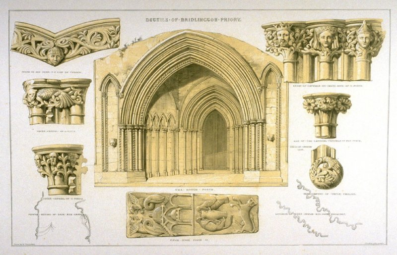 Bridlington Priory : North Porch and Details, second plate opposite page 62, and forty-seventh plate in the book, The Monastic Ruins of Yorkshire (York: Robert Sunter, 1843-[1855])
