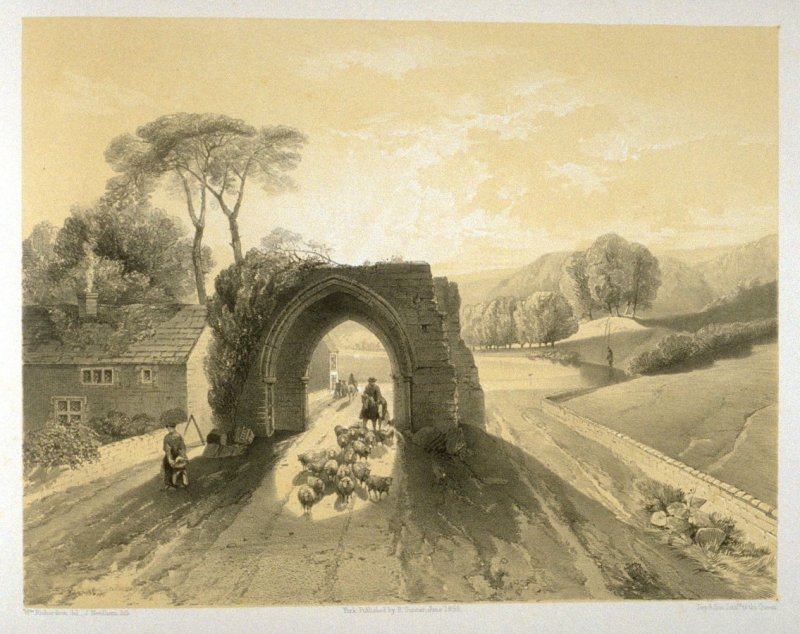 Sawley Abbey: Gateway to the Abbey Close, on page [67], and fifty-third plate in the book, The Monastic Ruins of Yorkshire (York: Robert Sunter, 1843-[1855])