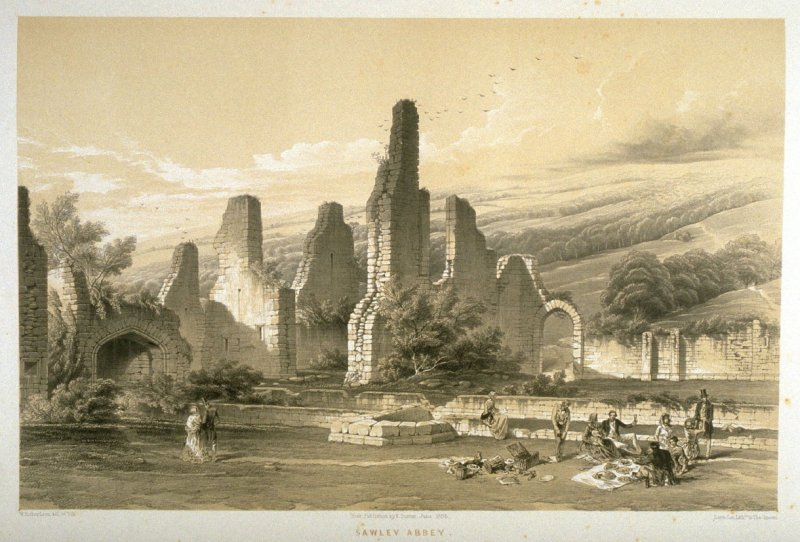 Sawley Abbey: Interior of the Ruins, first plate opposite page 68, and fifty-fourth plate in the book, The Monastic Ruins of Yorkshire (York: Robert Sunter, 1843-[1855])