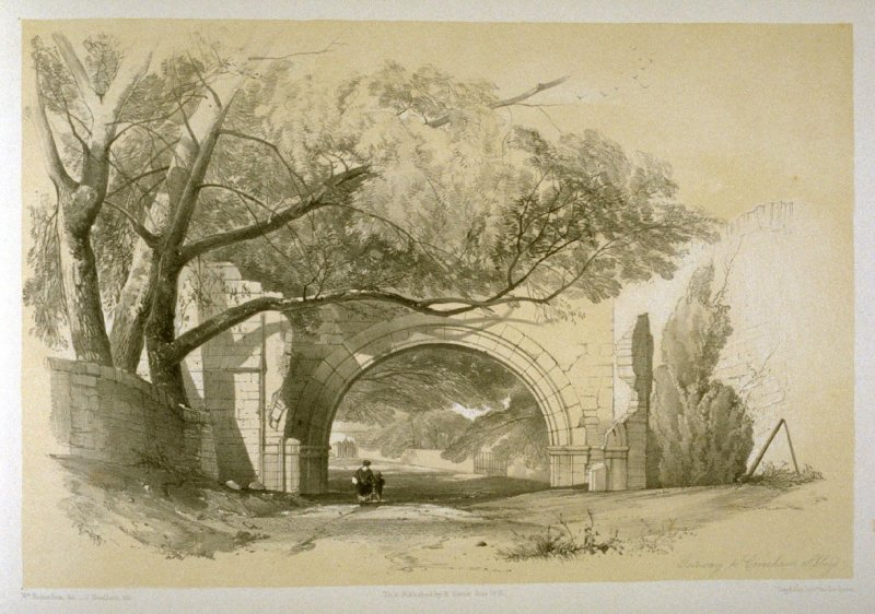 Coverham Abbey: Gateway, on page [71], and fifty-eighth plate in the book, The Monastic Ruins of Yorkshire (York: Robert Sunter, 1843-[1855])