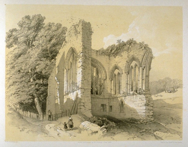 Egglestone Abbey: Choir, on page[ 73], and fifty-ninth plate in the book, The Monastic Ruins of Yorkshire (York: Robert Sunter, 1843-[1855])