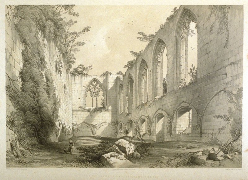 Easby Abbey: The Refectory, first plate opposite page 76, and sixty-third plate in the book, The Monastic Ruins of Yorkshire (York: Robert Sunter, 1843-[1855])