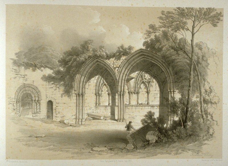 Kirkham Priory: Alcove in Cloister Garden, on page[ 79*],and seventy-fifth plate in the book, The Monastic Ruins of Yorkshire (York: Robert Sunter, 1843-[1855])