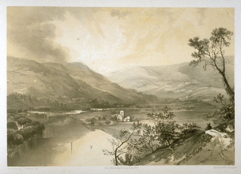 Marrick Abbey: On the River Swale, on page [81], and seventy-eighth plate in the book, The Monastic Ruins of Yorkshire (York: Robert Sunter, 1843-[1855])