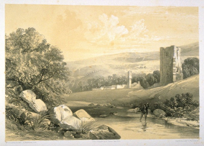 Ellerton Abbey: Southeast View, on page 85 ,and eighty-first plate in the book, The Monastic Ruins of Yorkshire (York: Robert Sunter, 1843-[1855])