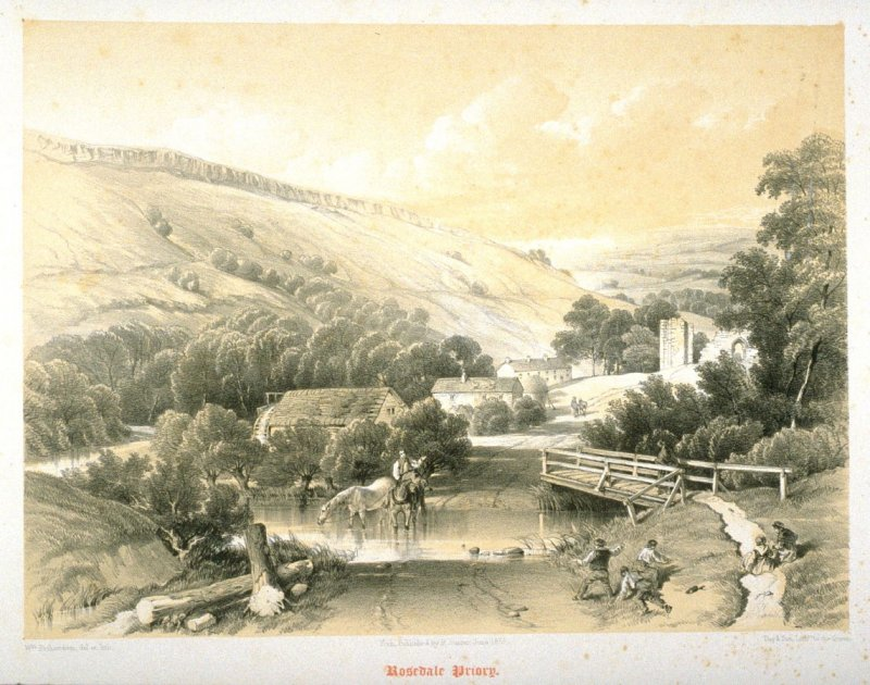 Rosedale Priory: Church and Village, on page 87 ,and eighty-second plate in the book, The Monastic Ruins of Yorkshire (York: Robert Sunter, 1843-[1855])