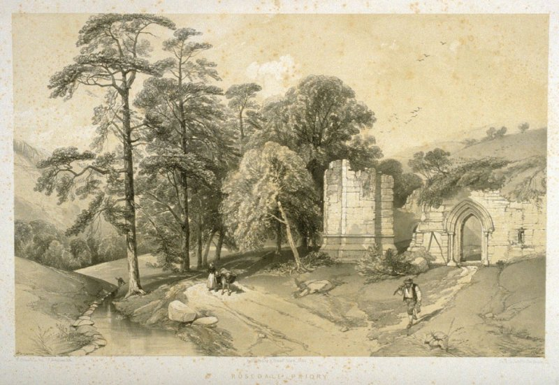 Rosedale Priory: Doorway and Corner, first plate opposite page 88 ,and eighty-third plate in the book, The Monastic Ruins of Yorkshire (York: Robert Sunter, 1843-[1855])