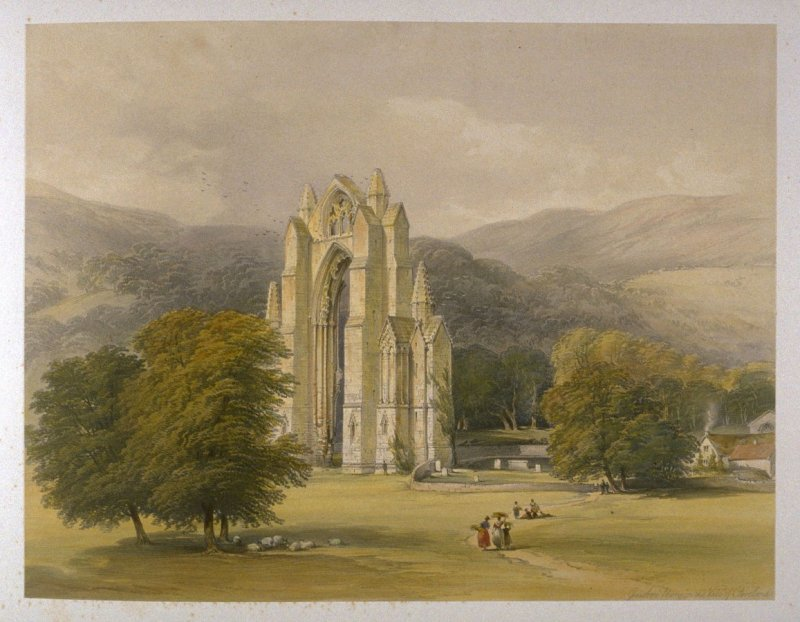 Guisborough Priory: Guisborough Priory and the Vale of Cleveland, on page [49], and thirty-first plate in the book, The Monastic Ruins of Yorkshire by Edward Churton (York: Robert Sunter,[ ca. 1855])