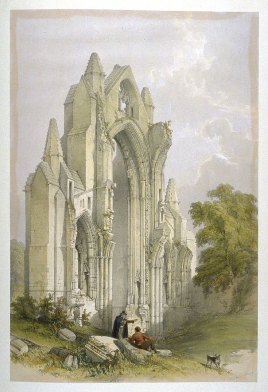 Guisborough Priory: Interior Wall of the East End, first plate opposite page 50, and thirty-second plate in the book, The Monastic Ruins of Yorkshire by Edward Churton (York: Robert Sunter,[ ca. 1855])