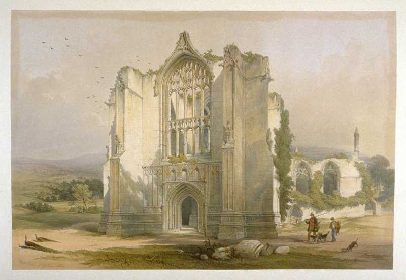 Bolton Abbey: West Front, second plate opposite page 60, and forty-third plate in the book, The Monastic Ruins of Yorkshire (York: Robert Sunter, 1843-[1855])