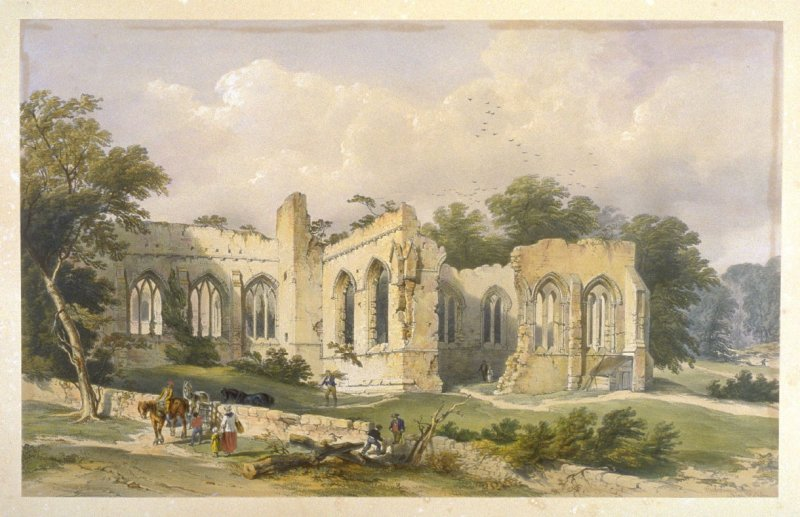 Egglestone Abbey: Southwest View, first plate opposite page 74, and sixtieth plate in the book, The Monastic Ruins of Yorkshire (York: Robert Sunter, 1843-[1855])