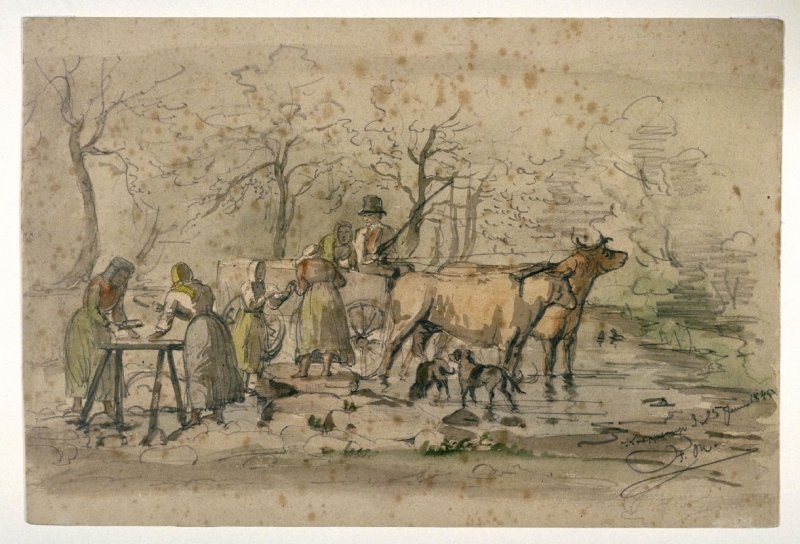 Peasants Doing Laundry in a Stream in Denmark