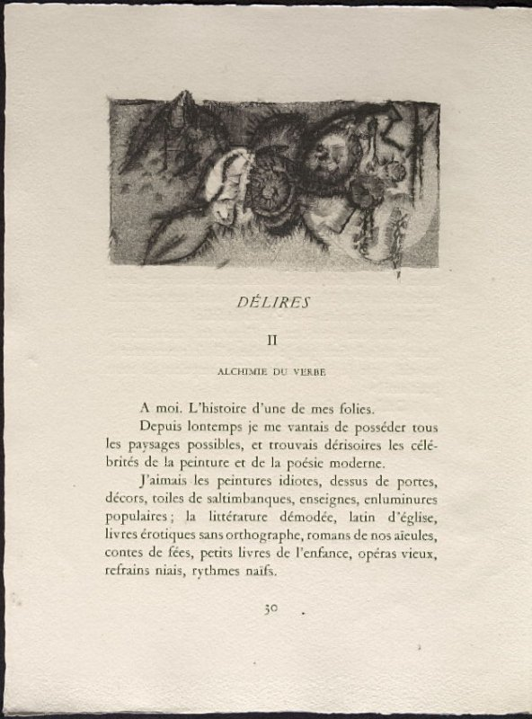 Untitled, pg. 30, in the book Une Saison en Enfer les déserts de l'amour les illuminations by Arthur Rimbaud (Lausanne: André et Pierre Gonin, 1951)