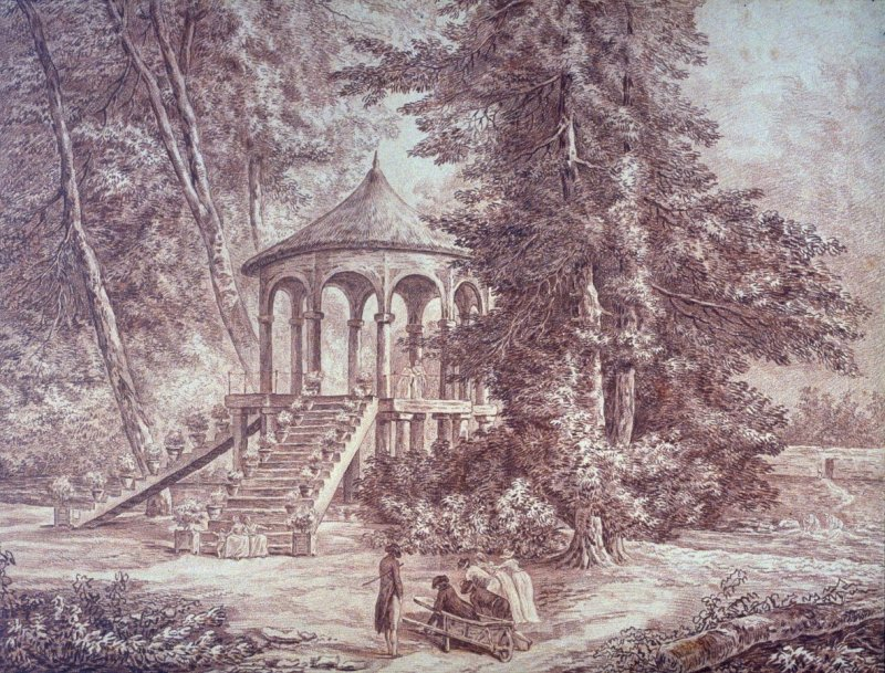 English Park with Pavilion in the style of Cassan
