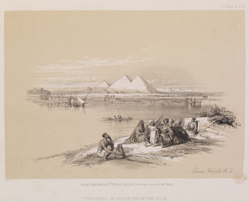 Pyramids of Geezeh, from the Nile, plate 128 in the book The Holy Land, with historical notes by William Brockedon (London: Day & Son, 1855), vol. 4, Egypt and Nubia, [bound with The Holy Land, with historical notes by George Croly (London: Day & Son, 185
