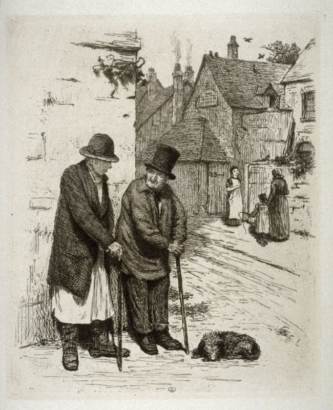 Sunning themselves, plate 14 in the book, The Etcher (London: Williams and Norgate, 1879), vol. 1