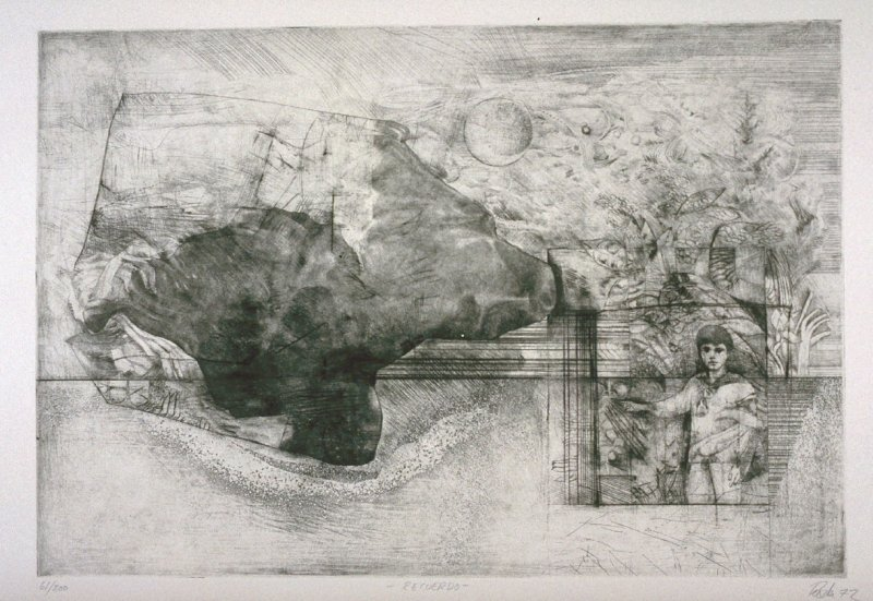 Recuerdo (Remembrance), sixth plate in the portfolio, 21 Estampadores de Colombia, Mexico y Venezuela (21 Printmakers of Colombia, Mexico and Venezuela)