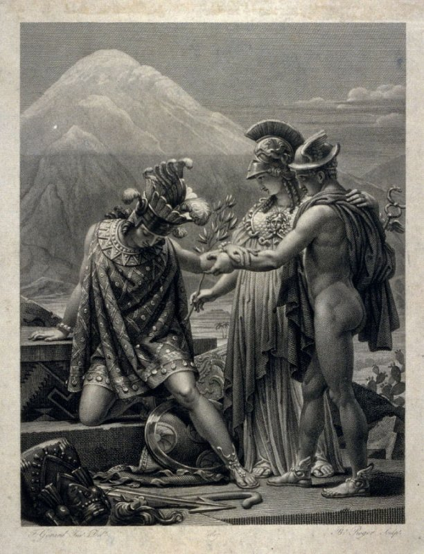 Apollo and Minerva welcoming a visitor?