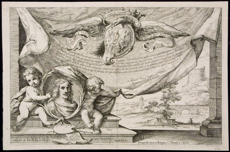 Frontispiece to Landscape Drawings by Cavalier Giovanni Francesco Barbieri; engraved by Giovanni Penna