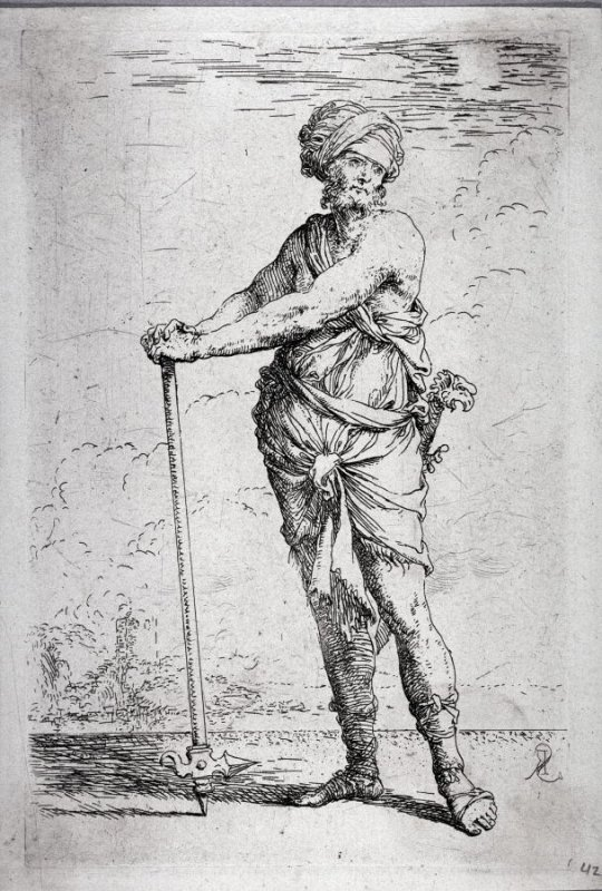 Soldier Standing, Holding a Pike with Both Hands, from the series Figurine
