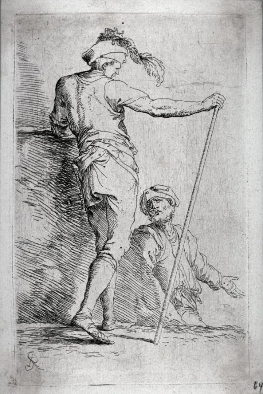 Two Soldiers, One Seen from Behind and Holding a Cane in his Right Hand, from the series Figurine