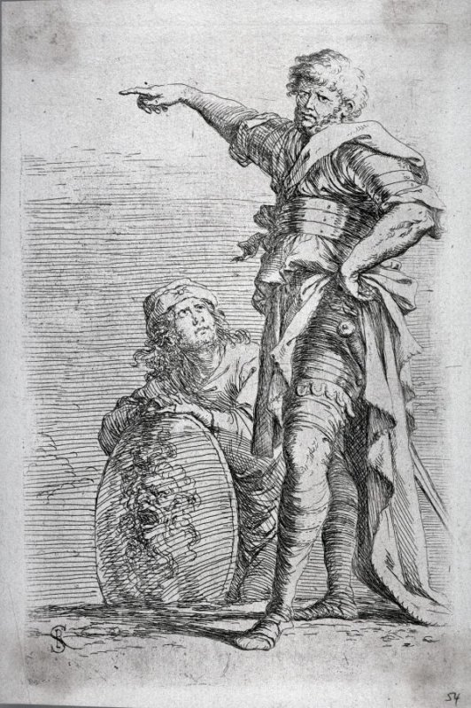 Two Soldiers, One Pointing Toward the Left, the One Below Holding a Shield, from the series Figurine