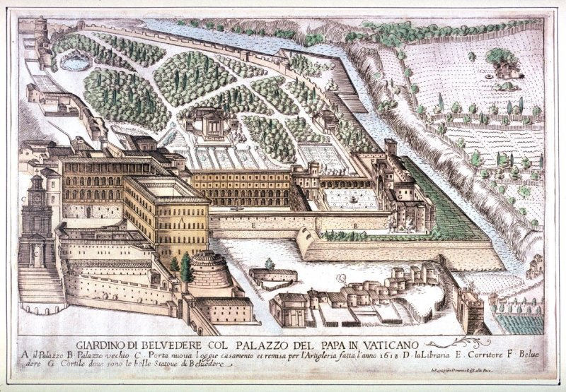 Garden of Belvedere with the Palace of the Pope in the Vatican