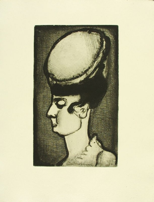 """Femme au chapeau en profil, vers la gauche,"" illustration 5, in suite #1, for the book Réincarnations du Père Ubu (Paris: Ambroise Vollard, 1932)"