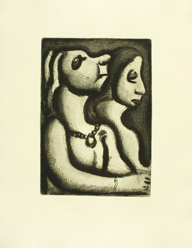 """Deux femmes in profil,"" illustration 6, in suite #1, for the book Réincarnations du Père Ubu (Paris: Ambroise Vollard, 1932)"
