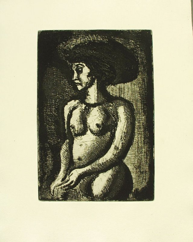 """Femme nue, vers la gauche,"" illustration 3, in suite #2, for the book Réincarnations du Père Ubu (Paris: Ambroise Vollard, 1932)"