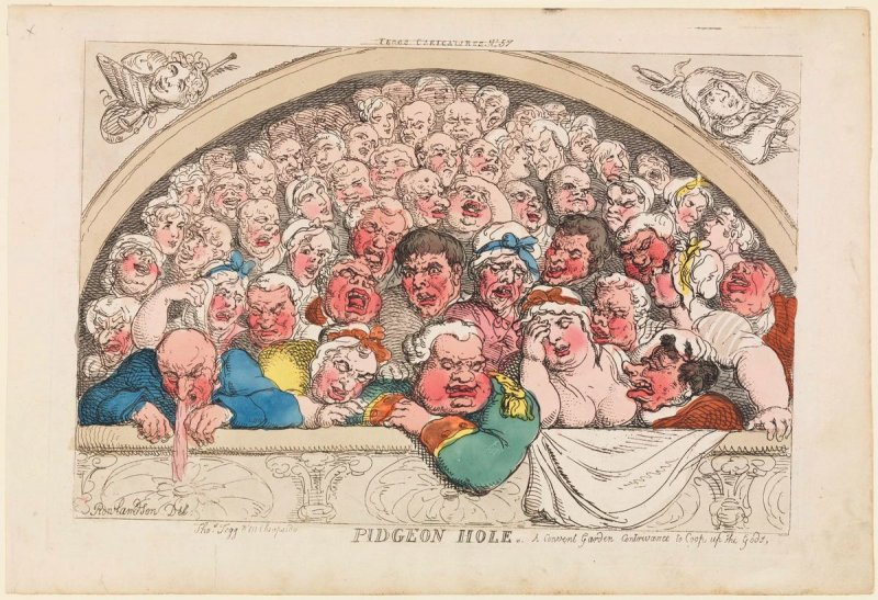 Pidgeon Hole, A Convent Garden contrivance to Coop up the Gods, from the series 'Tegg's Caricatures' No.57