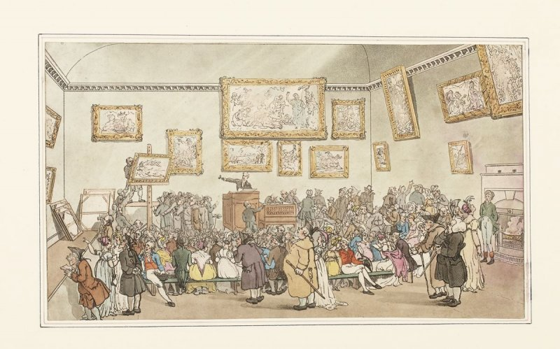 Plate 6: Christie's Auction Room, illustration to 'The Microcosm of London' (London, Ackermann, 1808-10)
