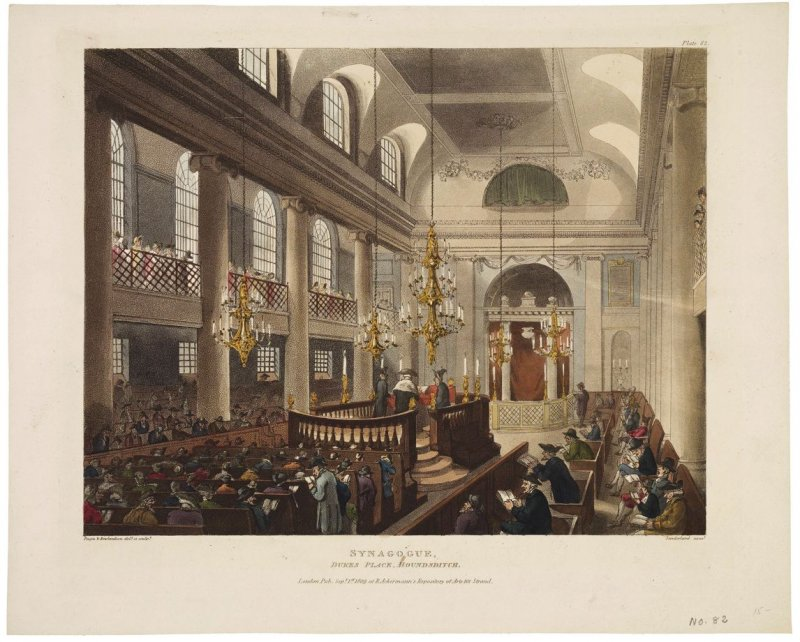 Synagogue, Dukes Place, Houndsditch; illustration to 'The Microcosm of London'