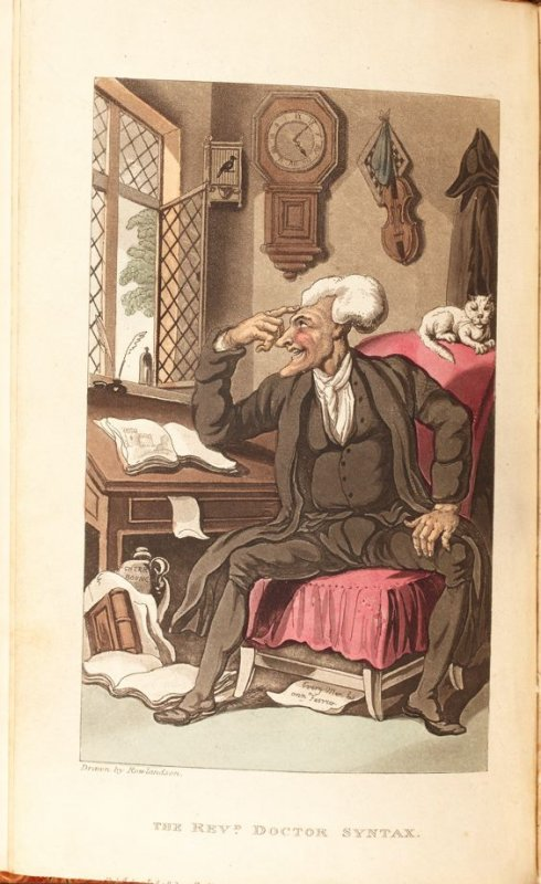 The Revd. Doctor Syntax, frontispiece in the book 'The Tour of Dr. Syntax, In Search of the Picturesque' 4th ed. ([London: R. Ackermann, 1813]), vol. 1 (of3)