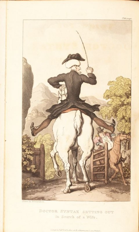 Doctor Syntax Setting Out in Search of a Wife, frontispiece in the book 'The Third Tour of Dr. Syntax, In Search of a Wife' (London:R. Ackermann, 1821), vol. 3 (of 3)