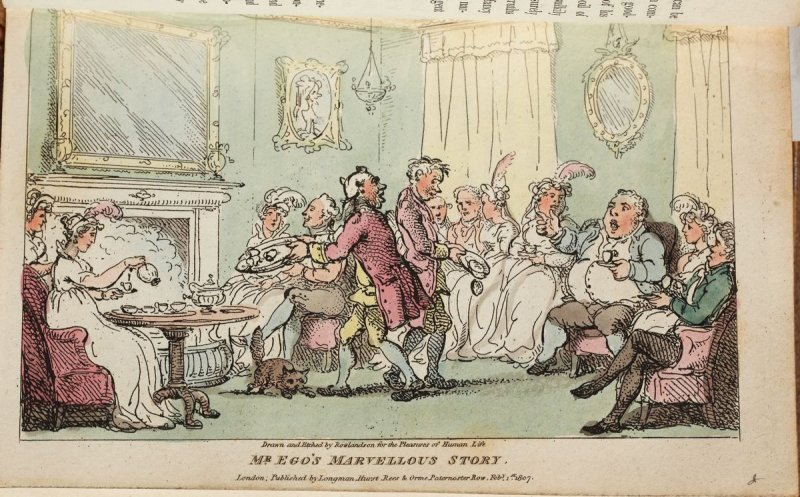 Mr. Ego's Marvellous Story, plate in the book 'The Pleasures of Human Life' by Hilari Benevolus & Co. (London: Longman, Hurst, Rees & Orme 1807)