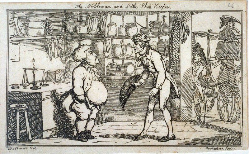 The Nobleman and Little Shopkeeper, illustration to 'Chesterfield Travestie or School for Fine Manners' (Tegg, 1808)