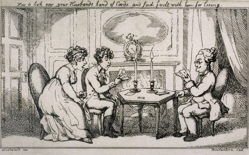 How to look over your Husbands hand of cards and find fault with him for losing, illustration to 'Chesterfield Travestie or School for Fine Manners' (Tegg, 1808)
