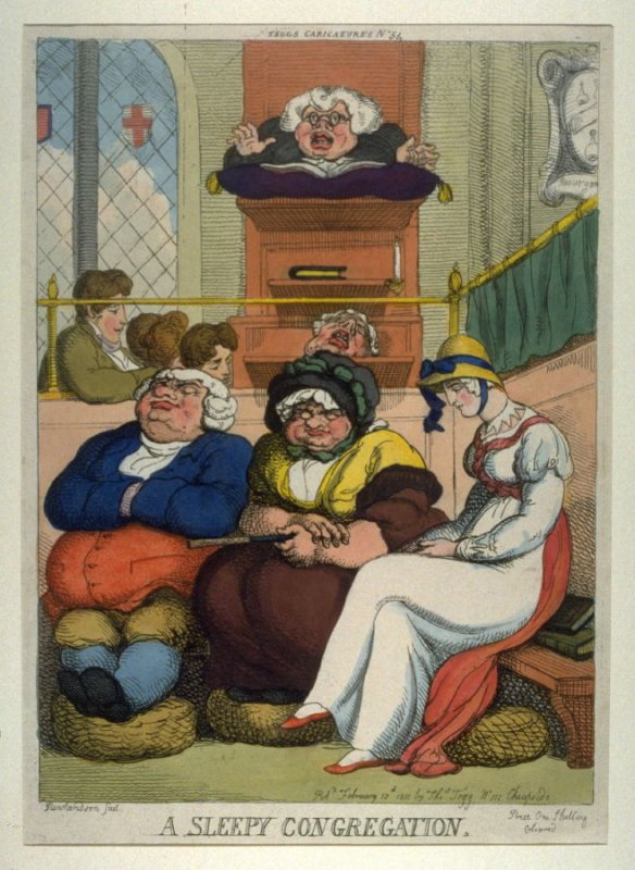 A Sleepy Congregation, from the series 'Tegg's Caricatures' No.54