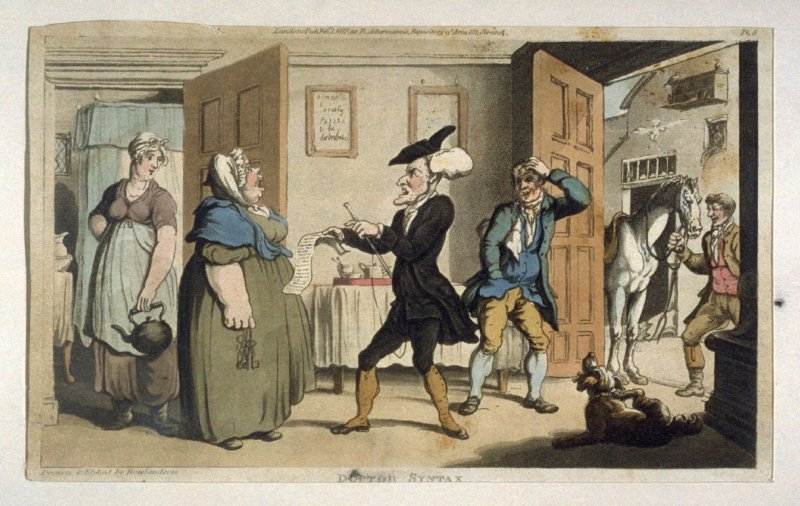 Dr. Syntax Disputing His Bill with the Landlady, from Combe's 'The Tours of Dr Syntax: In Search of the Picturesque'