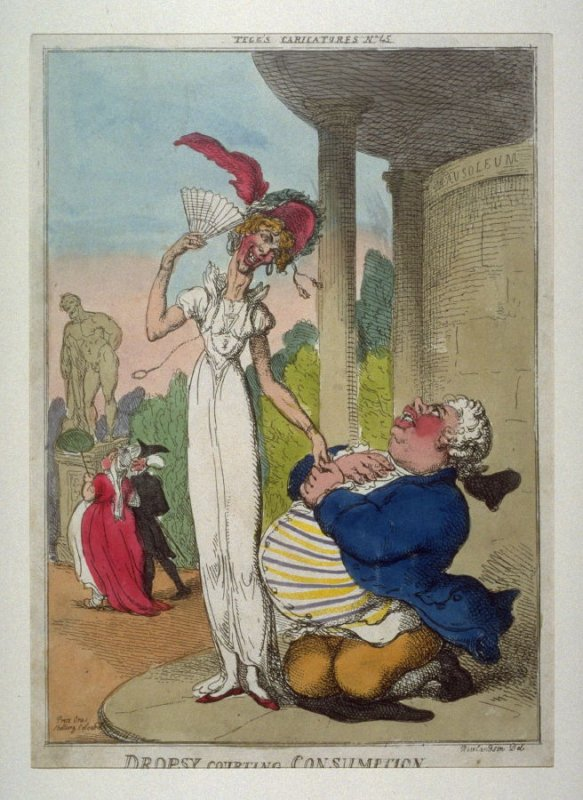 Dropsy Courting Consumption, from the series 'Tegg's Caricatures' No.45