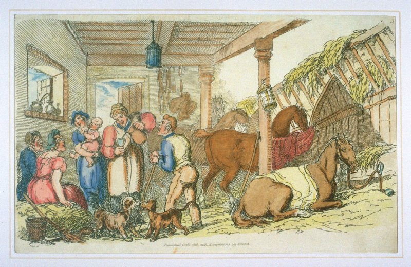 Gossip and Refreshment in the Stable, illustration to 'The World in Miniature'