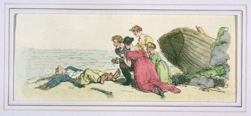 Finding The Shipwrecked Sailor On The Beach, illustration to 'The World in Miniature'