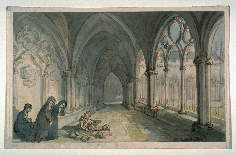 Opening a Grave in Church Cloisters