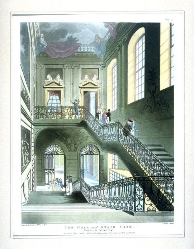Plate 14: The Hall and Staircase--British Museum, illustration to 'The Microcosm of London'