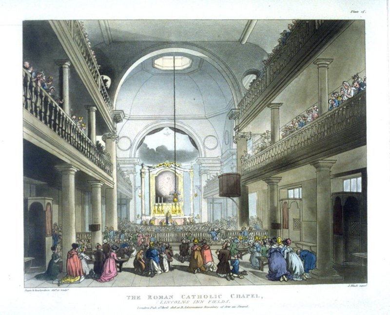 Plate 16: The Roman Catholic Chapel, illustration to 'The Microcosm of London'