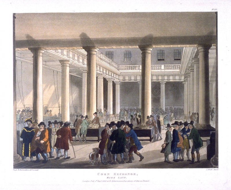 Plate 33: Corn Exchange, illustration to 'The Microcosm of London'