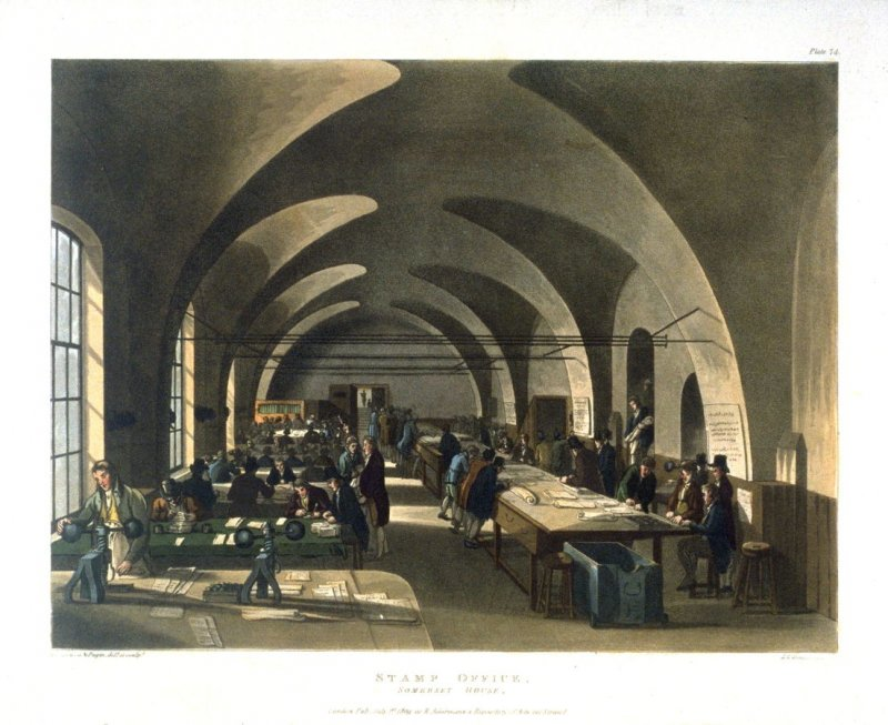 Plate 74: Stamp Office, Somerset House, illustration to 'The Microcosm of London'